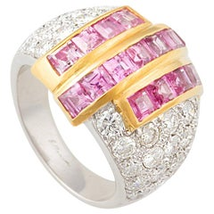 Ella Gafter Pink Sapphire and Diamond Cocktail Ring