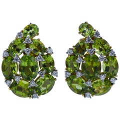 Verdura Peridot and Diamond Clip-On Earrings