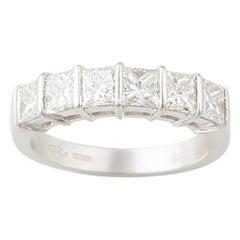 Ella Gafter Princess Cut Diamond White Gold Band Ring