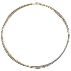 David Yurman Crossover 18 Karat Gold and Sterling Silver Cable Choker Necklace