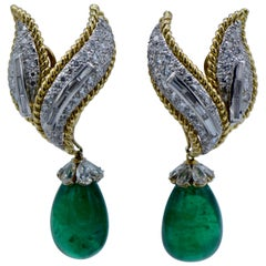 David Webb, Green Emerald and Diamond 'Day/Night' Clip-On Earrings