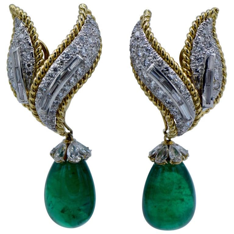 David Webb, Green Emerald and Diamond 'Day/Night' Clip-On Earrings