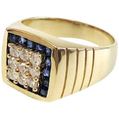 Men's Diamond Cluster and Sapphire Square Halo Ring / 14 Karat Yellow Gold