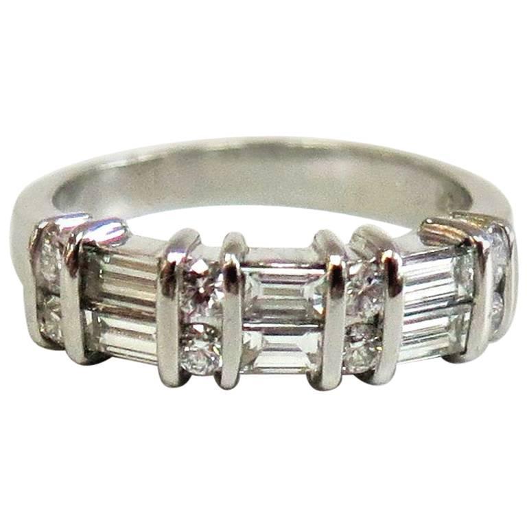 Jeff Cooper Two-Row Round Baguette Diamond Wedding Band, Platinum, 0.75 Carat