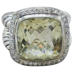 David Yurman Prasiolite and Diamond Albion Ring in Sterling Silver