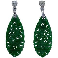Two Large Old-Mine 3.20 Carat Platinum Diamond Jade Earrings