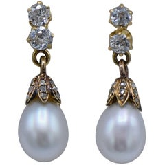 Antique Victorian Pearl Diamond Dangle Earrings