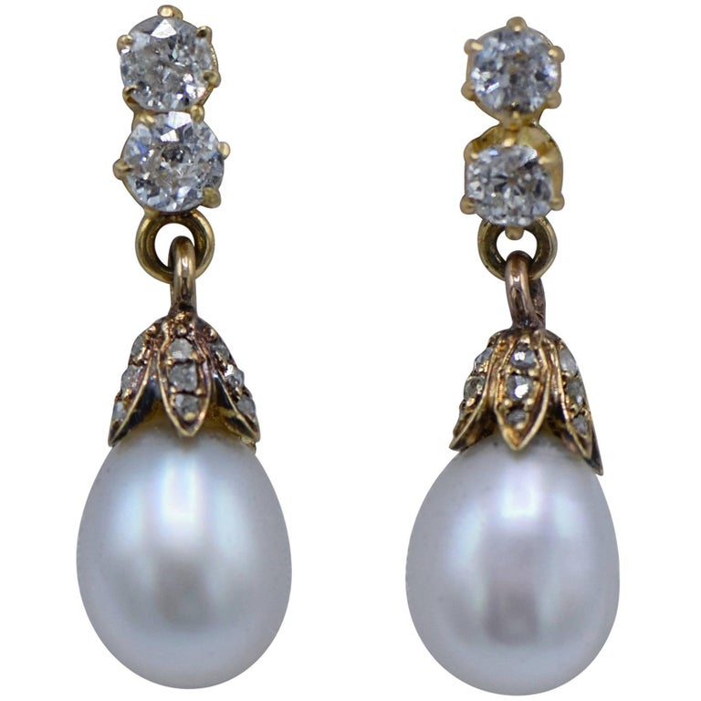 Antique Victorian Pearl Diamond Dangle Earrings