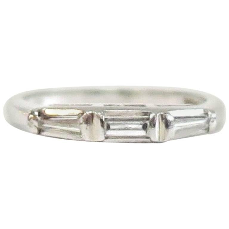 Vintage Platinum Wedding Band with Three Baguettes, 1940s For Sale ...