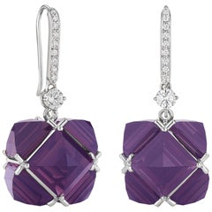 18 Karat White Gold White Sapphire and Diamond and Amethyst Very PC Earrings