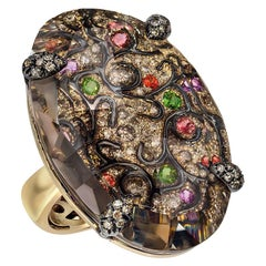 Cellini Jewelers 18Kt Gold, Brown Diamond & 39.70Ct. Brown Quartz Oval Ring