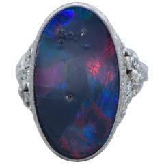 Walton & Company Harlequin Black Opal Deco Ring