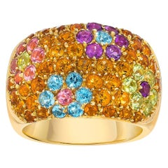 Vaid 18 Karat Yellow Gold Citrine and Semi Precious Flowers Ring