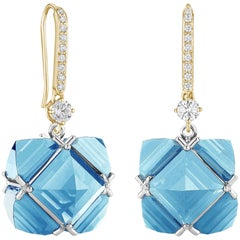 18 Karat Yellow and White Gold White Sapphire and Blue Topaz Very PC Earrings