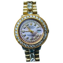 Rolex Ladies Yellow Gold Diamond Oyster Perpetual Datejust Automatic Wristwatch