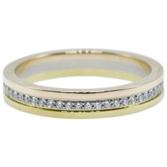 Cartier Trinity Diamond Wedding Band Ring in 18 Karat Yellow and White Gold