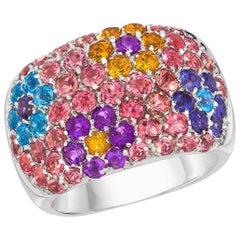 Vaid 18 Karat White Gold Pink Tourmaline and Semi- Precious Flowers Band