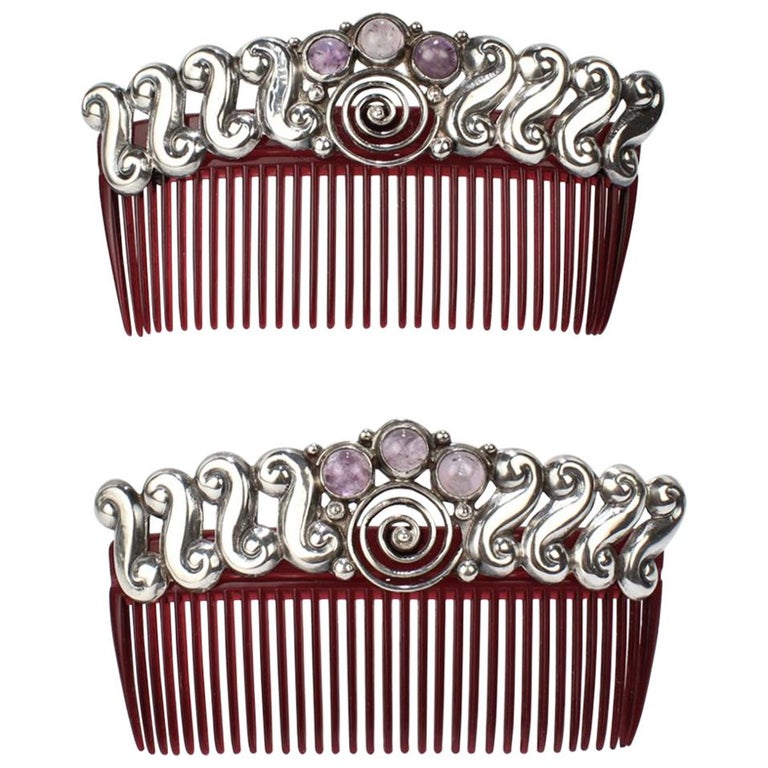Pair of Mexican Mid-Century Modern Sterling Silver and Amethyst Hair Combs