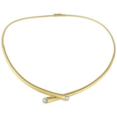 Modern Yellow Gold and .88 Carat Diamond Carelle Whirl Collar Necklace In Stock