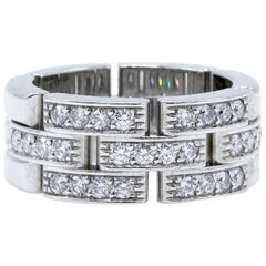 Cartier Maillon Panthere Diamond Wedding Band Ring 18k White Gold Links & Chains