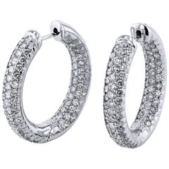 2.75 Carat Diamond Oval Hoop Earrings
