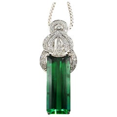 Rare Gem 37.63 Carat AGL Certified Step-Cut Tourmaline Platinum Diamond Pendant