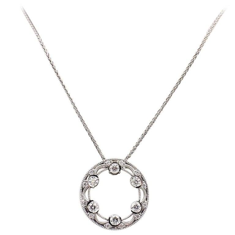 Tacori 18 Karat White Gold Reverse Crescent Silhouette Diamond Necklace Pendant