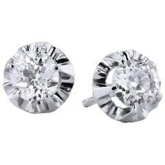 1.42 Old Mine Cushion Cut Diamond Stud Earrings