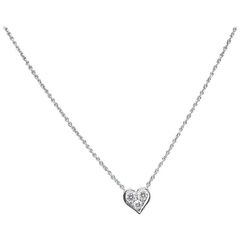 Tiffany & Co. Diamond Hearts Pendant Necklace in Platinum