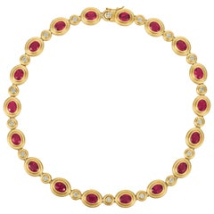 Gemlok Oval Rubelite and Diamond Gold Necklace