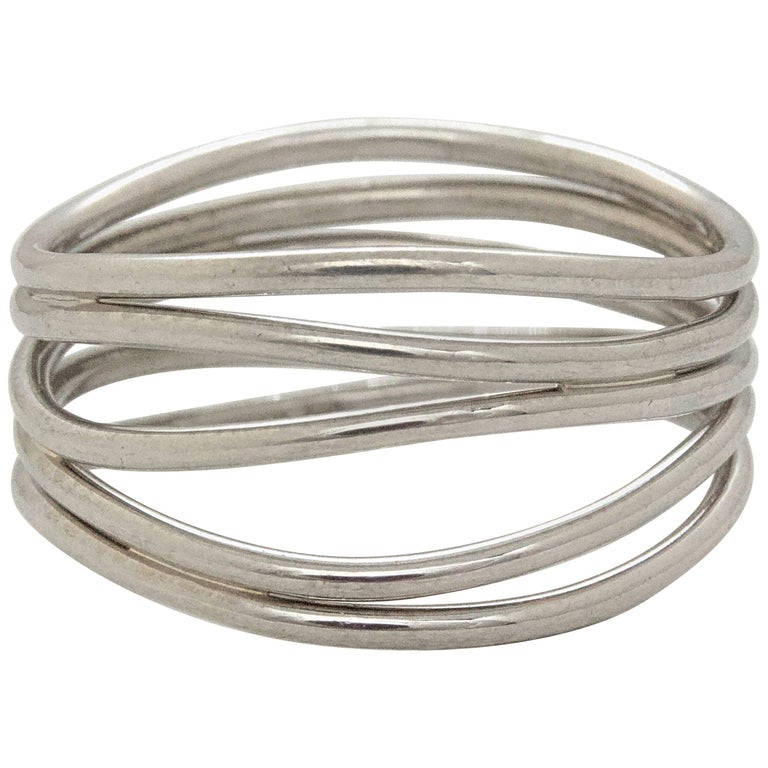 Tiffany & Co. Elsa Peretti Five-Row Wave Ring in 18 Karat White Gold