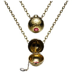 Gemfields Mozambique Ruby and 18 Karat Gold Locket Pendant and Necklace