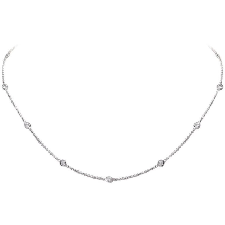 Italian 18 Karat White Gold Diamond by the Yard Chain Necklace
