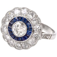 Classic  Diamond Sapphire Platinum Ring