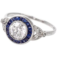 European Diamond Sapphire Platinum Engagement Ring