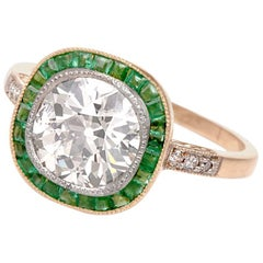 Antique Cushion Diamond Emerald Gold Engagement Ring