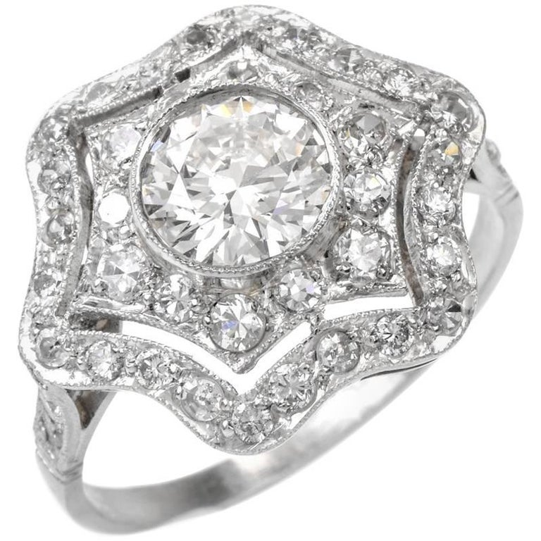 Estate Diamond Platinum Filigree Engagement Ring