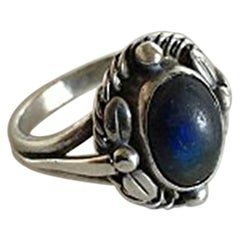 Georg Jensen Sterling Silver Ring No 1 with a Shimmering Blue Stone