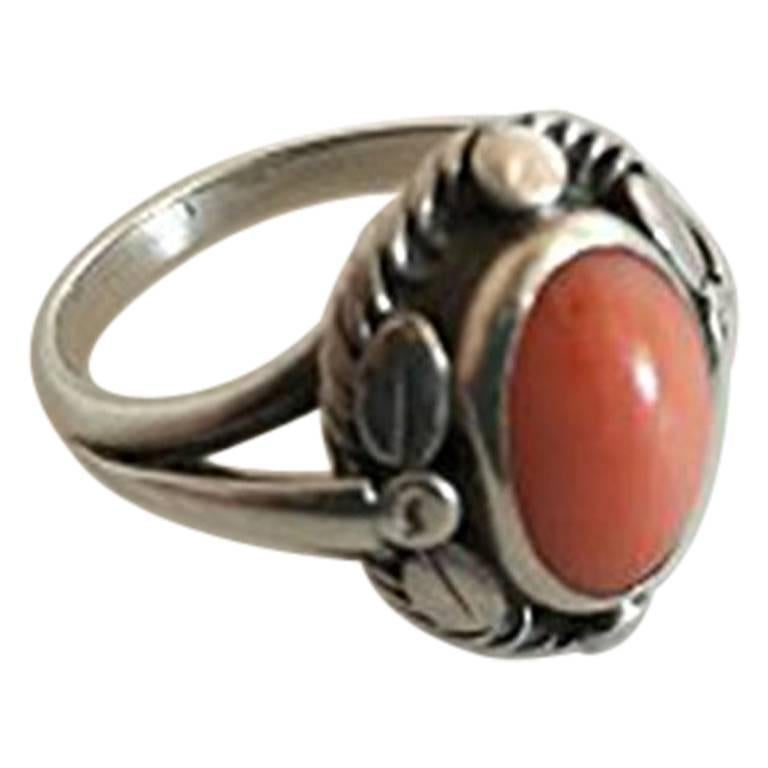 Georg Jensen Sterling Silver Ring with Peach Colored Stone No 1