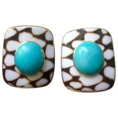 Trianon Estate 18 Karat Gold Turquoise Cabochon Shell Earrings