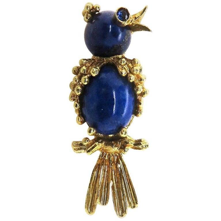 18 Karat Yellow Gold Lapis Lazuli and Sapphire Bird Brooch