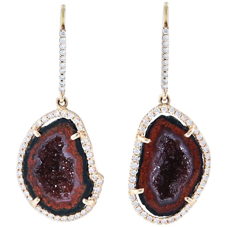 Karolin Rose Gold White Diamond Agate Geode Drop Pavé Hook Earrings