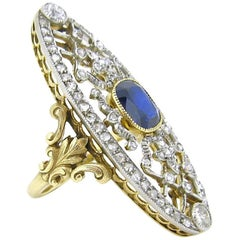 Antique Belle Epoque Edwardian Sapphire and Rose cut Diamonds Lacy Ring