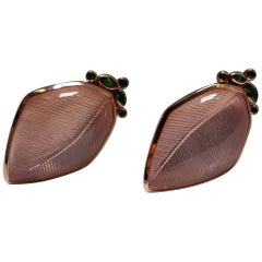 "Rose Quartz Tsavorite Gold ""Leaf"" Earrings Wagner Collection"