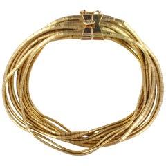 Italian 1950s 18 Karats Yellow Satin Gold Ribbons Bracelet