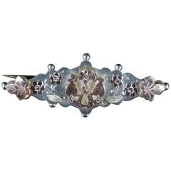 Antique Victorian Floral Horseshoe Brooch Silver, circa 1900