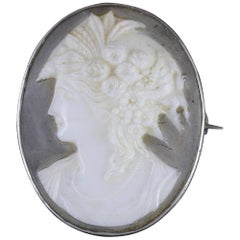 Antique Victorian Cameo Brooch Silver Resin, circa 1880