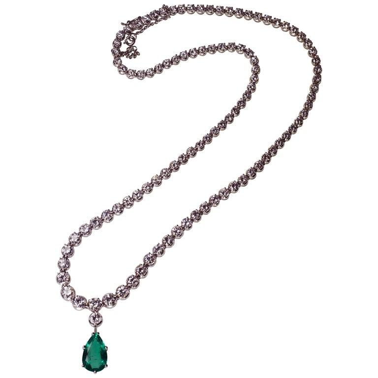 Emerald Diamond Drop Pear Gold Necklace