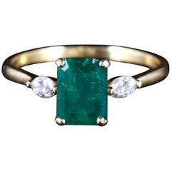 Antique Victorian Emerald Diamond Trilogy Ring 18 Carat, circa 1900