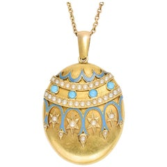 Antique Victorian Turquoise Pearl Enamel 18 Karat Gold Locket